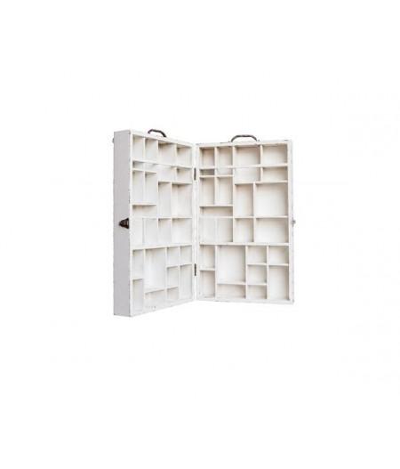 Valise présentoir bois patiné, blanchie - Chehoma