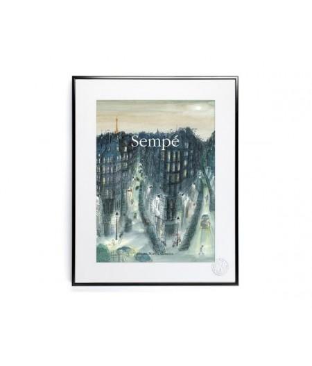 30x40 cm Sempé Quartier Nuit - Affiche Image Republic