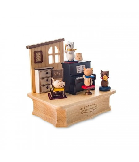 Cat Play Piano - Swaying Music Box - Wooderful life