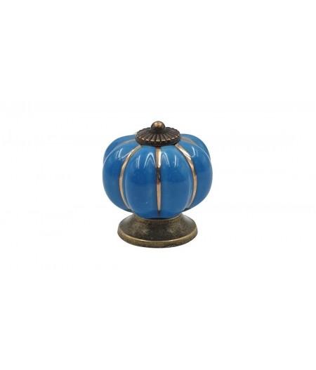 Poignée cocotte citrouille céramique bleue - Cookut