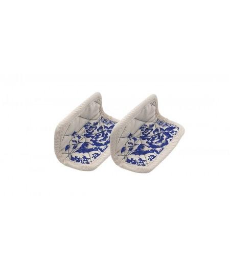Paire de maniques coton fleurs bleues - Cookut