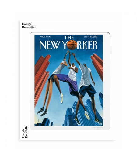 40x50 cm The New Yorker 168 Ulriksen Basketball And Buildings - Affiche Image Republic