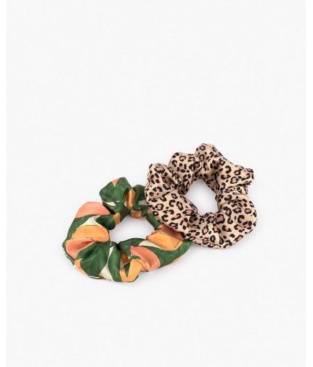 Chouchous Pink Savannah & Peach Scrunchies - Wouf