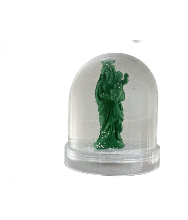 Boule à neige Bonne Mère - Vert Gazon - Neige Blanche - J'ai Vu la Vierge