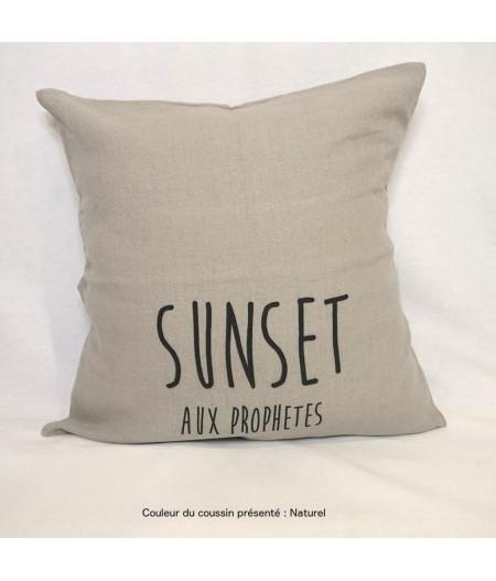 Coussin en lin 45x45cm Sunset aux Prophètes by L'Ornitho