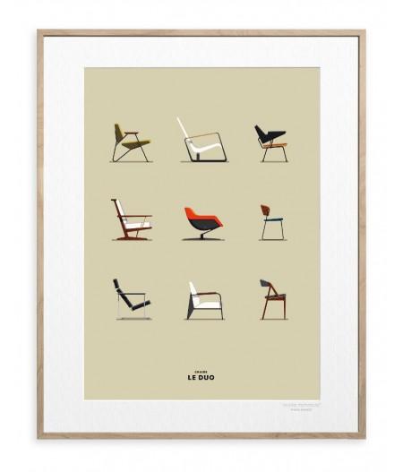 30x40 cm Le Duo Planche Chairs Chaises - Affiche  Image Republic