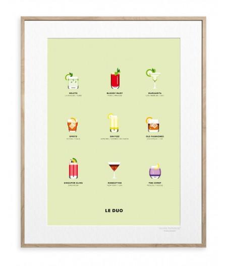 30x40 cm Le Duo Planche Cocktails - Affiche Image Republic