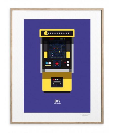 30x40 Cm Le Duo 80's Pacman - Affiche Image Republic