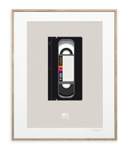 30x40 cm Le Duo 90's Vhs Gold - Affiche Image Republic