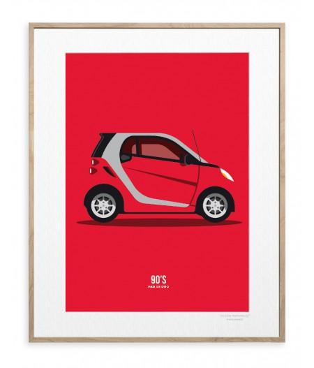 30x40 Cm Le Duo 90's Voiture Rouge - Affiche Image Republic
