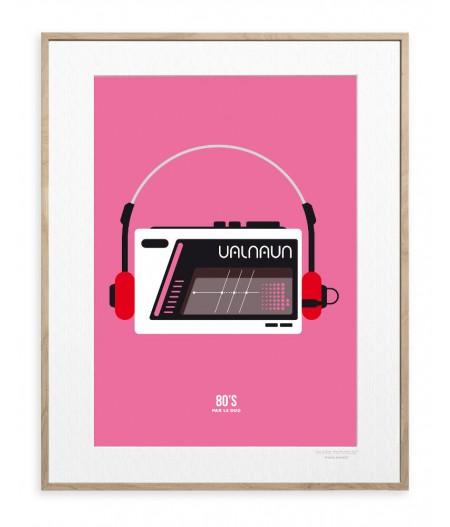 30x40 cm Le Duo 80's Walkman - Affiche Image Republic
