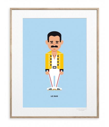 30x40 cm Le Duo Solo 14 Freddie Mercury Queen - Affiche Image Republic