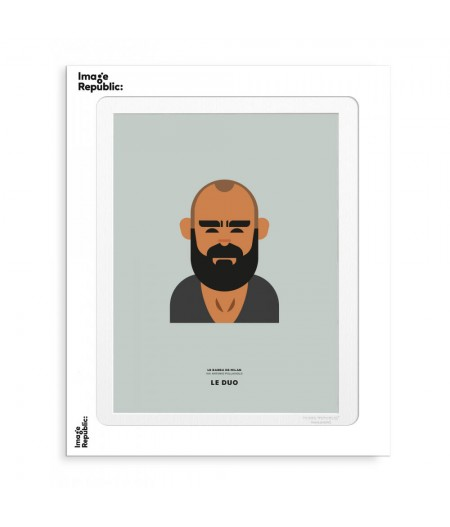 30x40 cm Le Duo Barbus Milan Hipster - Affiche Image Republic