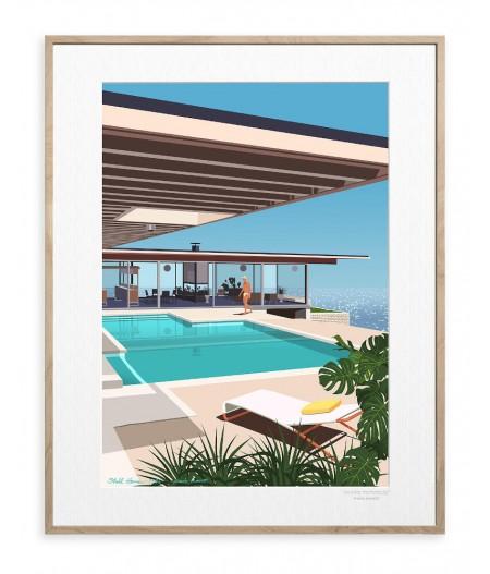 30x40 cm Paulo Mariotti Stahl House - Affiche Image Republic