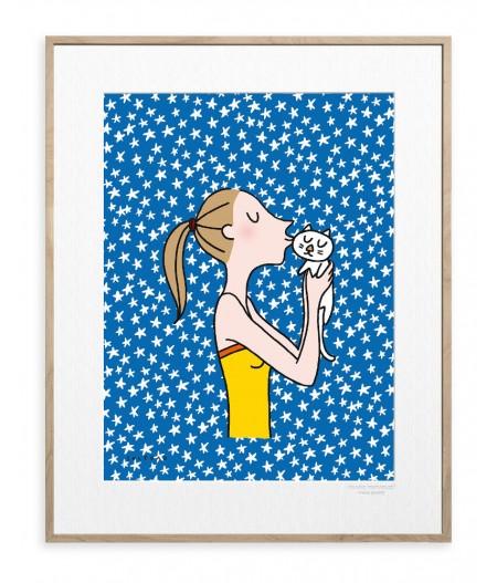 30x40 cm Soledad Kiss Cat - Affiche Image Republic