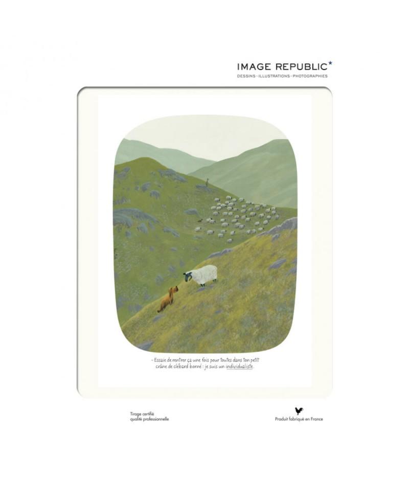 30x40 cm Voutch Mouton individualiste - Affiche Image Republic