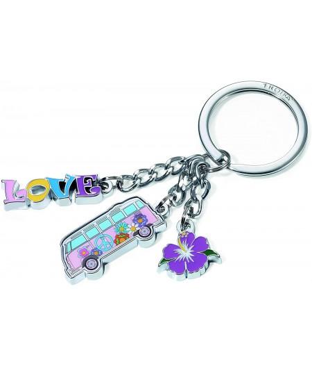 Porte-clés Troika - 3 breloques Bus WW, fleur, love