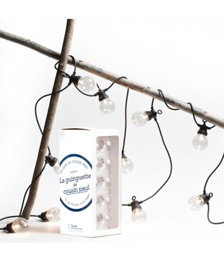 Coffret la Guinguette Transparent câble noir - La Case de Cousin Paul - Guirlande extérieur LED Coffret Guinguette transparent