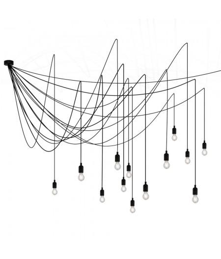 Lustre Maman Seletti - Lustre 14 ampoules Led fil noir