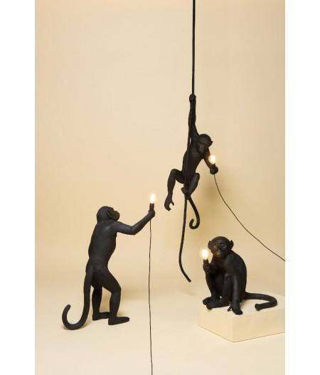 Monkey Lamp Sitting Seletti - Lampe en résine Noir Extérieur