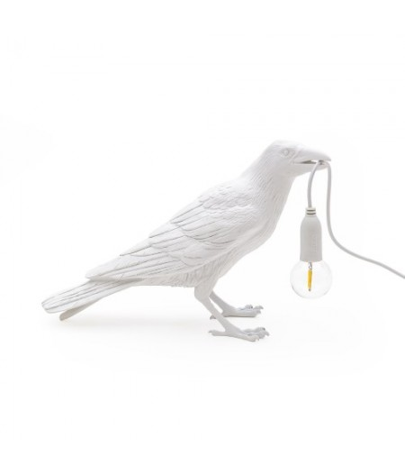 Bird Lamp 1 Waiting - Seletti - White Resin Lamp 29,5x12 H.18,5 cm