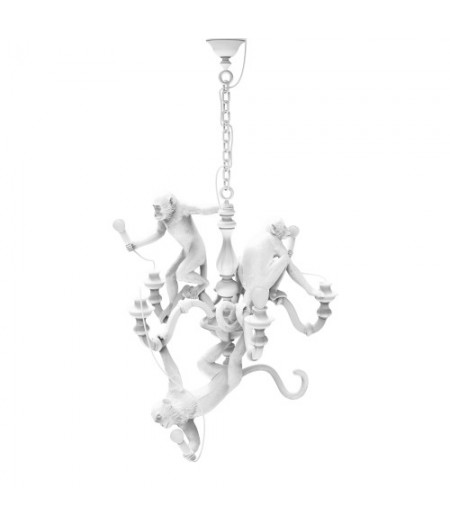 Monkey Chandelier Resin Lamp Seletti - Suspension lustre chandelier Singes Blanc