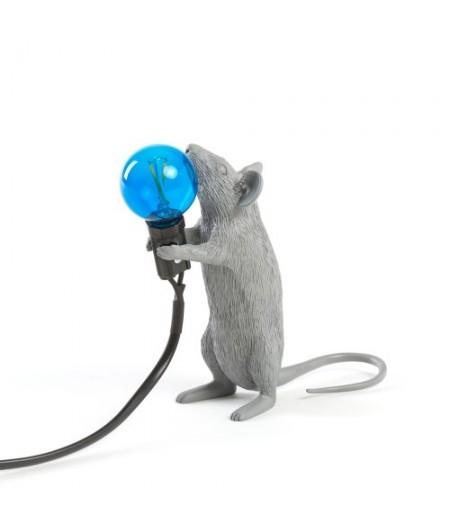 Lampe Souris Debout Seletti - Grise Ampoule bleue - Mouse lamp 1 Gray Standing