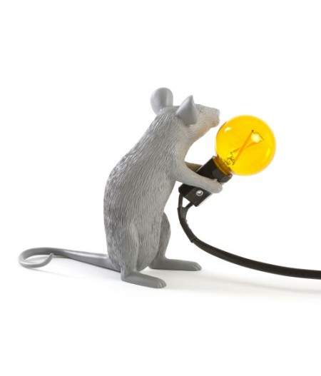 Lampe Souris Assise Seletti - Grise Ampoule jaune - Mouse Lamp 2 Gray Sitting
