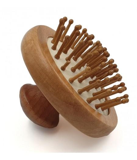 Brosse à cheveux ronde en bois naturel - Cookut