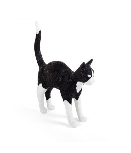 Jobby the Cat Seletti Black & White - Lampe Chat noir & blanc en résine