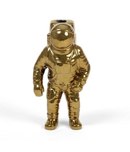 Starman Gold Cosmic Diner Diesel Living with Seletti - Vase en porcelaine Astronaute Doré