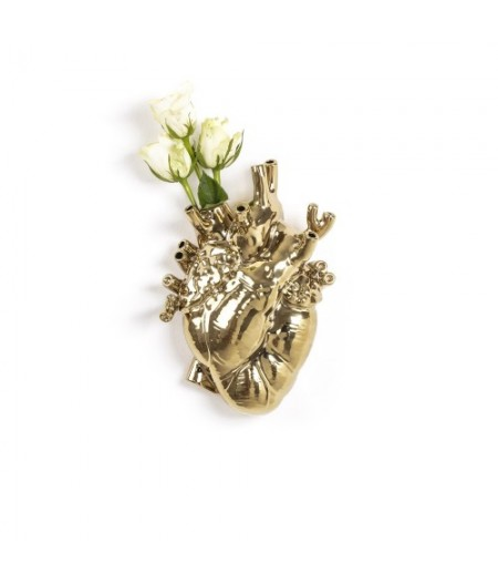 Love In Bloom Seletti Vase en porcelaine GOLD Porcelain Heart Vase