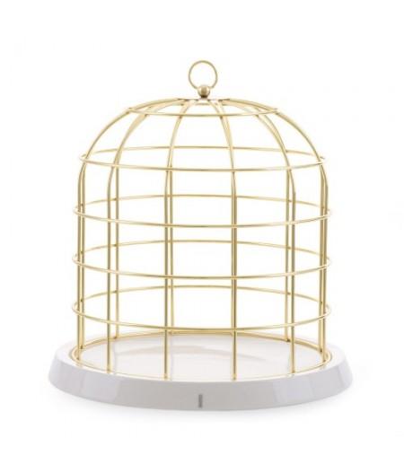 Twitable Gold metal birdcage with porcelain base Seletti - Cage en métal doré avec assiette en porcelaine