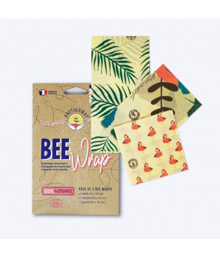 BeeWrap SML Tropical pack de 3 - Anotherway - emballage alimentaire à la cire d'abeille