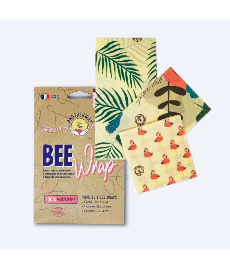 BeeWrap SML Tropical pack de 3 - Anotherway - emballage alimentaire à la cire d'abeille