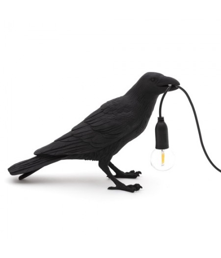 Bird Lamp 1-BLACK Resin Lamp - Waiting - Seletti