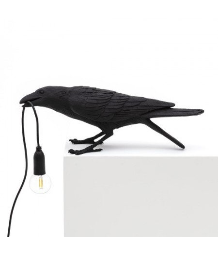 Bird Lamp 2-BLACK Resin Lamp - Playing - Seletti