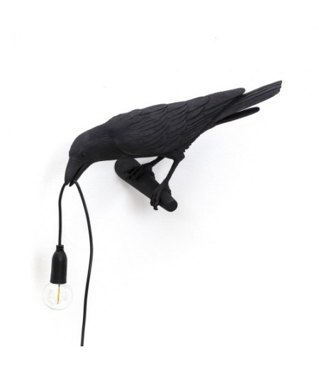 Hanging Bird Lamp 3-BLACK Resin Lamp - Looking - Seletti
