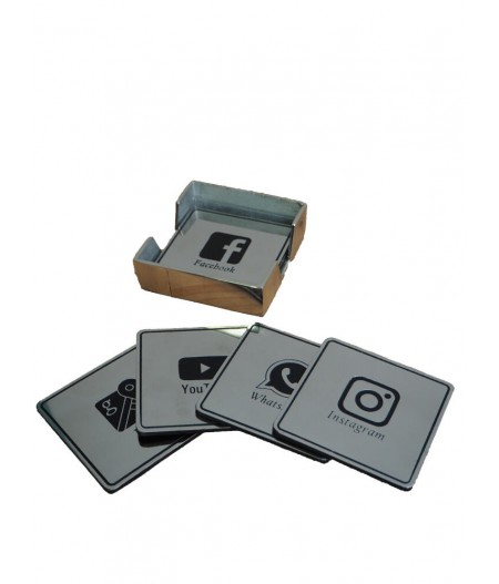 S/6 sous verres patine nickel Connect - Chehoma
