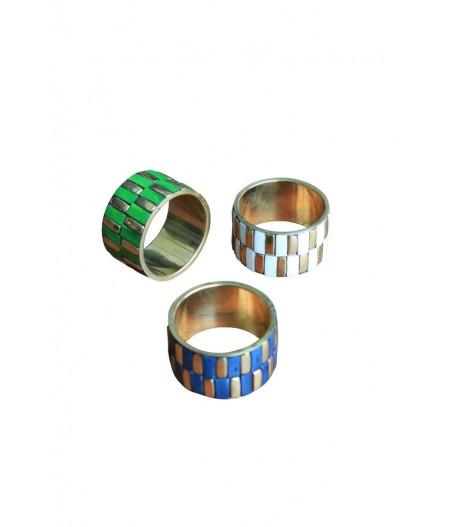 XD S/3 ronds de serviette bleu/vert/ivoire.