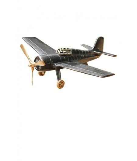Avion 41cm 'Grumman Wildcat' métal patiné - Chehoma