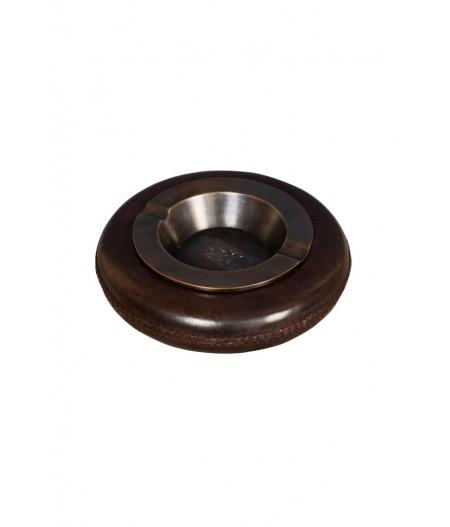 Cendrier rond bord cuir cousu - Chehoma