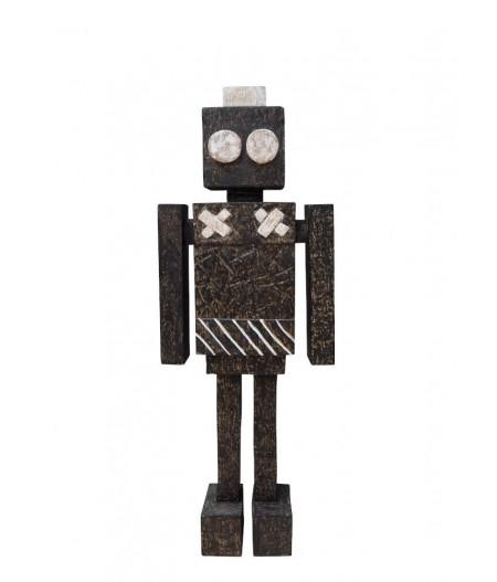 Robot noir bois sculpté - Chehoma