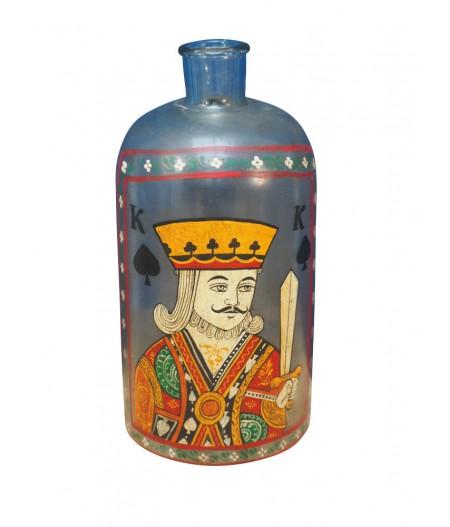 Bouteille Roi de coeur peinte à la main - Chehoma