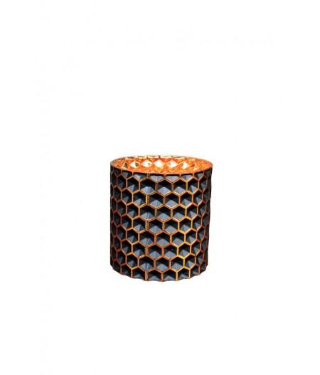 Photophore 11.5cm 'Alvéoles' noir et or - Chehoma