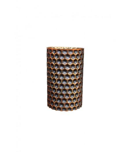 Photophore 18cm 'Alvéoles' noir et or - Chehoma