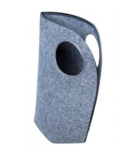Panier à linge en feutre gris foncé poignée ronde - Chehoma