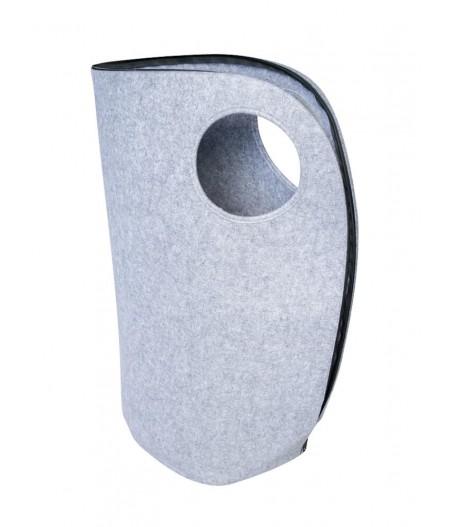 Panier à linge en feutre gris clair poignée ronde - Chehoma