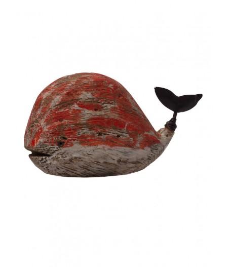 Pt déco baleine en bois rouge  - Chehoma