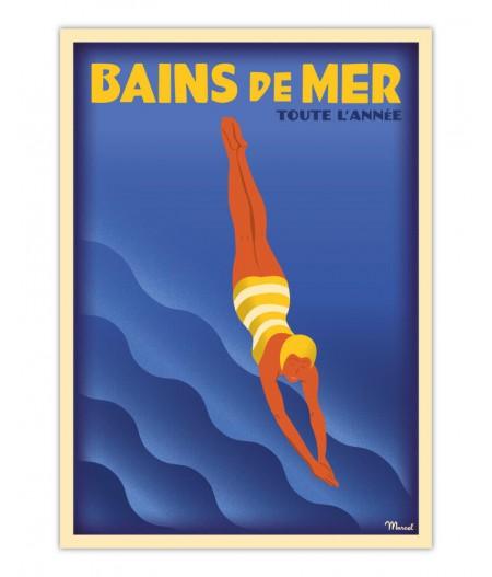 Affiches Marcel Small Edition - BAINS DE MER INDIGO POP 30x40cm 350 g/m²